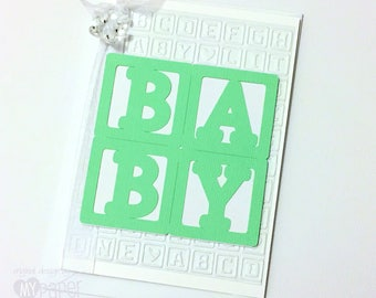 BABY Card, Mint Green & white, baby blocks. Teddy bear charm. Baby card or invitation. Baby shower, Oh baby, baby boy, baby girl, new baby.