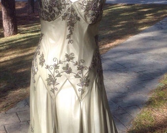 Vintage Jazz Age Drop Waist 1920's Look Silk Beaded Formal Dress by Adrianna Papell