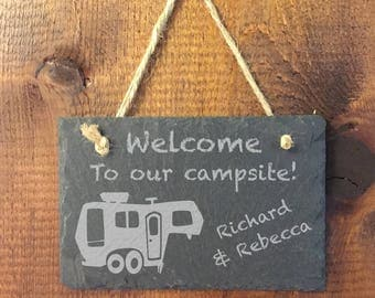 Personalized 5th Wheel Camper Sign - Welcome to our Campsite Slate Sign - Fifth Wheel Custom Engraved Camper Sign - Travel Trailer Camper