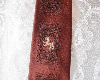 Vintage Wedgefield 60's Skinny Neck Tie Rust Orange Necktie Lion Wedgefield's Finest Cravat