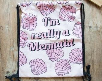 I'm a Mermaid Seashells Pull String Bag Backpack