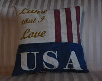 Hand Painted USA Pillow