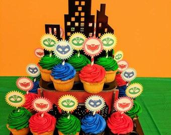 PJ Masks cupcake or cake toppers, Catboy, Owlette, Gekko