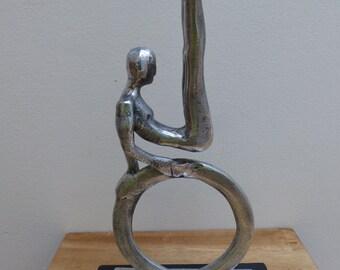 Vintage Rare Don Drumm Cast Aluminum Acrobat Gymnast Tabletop Sculpture