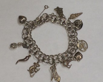 Vintage STERLING Silver Charm Bracelet with 11 Charms LOOK!