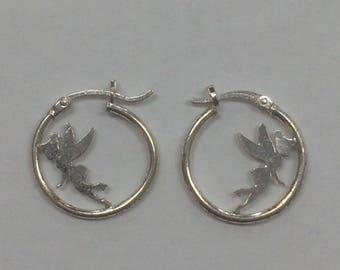 Vintage Sterling Silver .925 Tinkerbell Fairy Hoop Earrings
