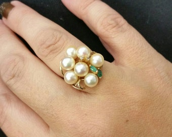 14k Yellow Gold Pearl Cluster Ring with Emeralds and Diamonds size 7.5