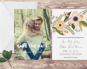 Photograph Save the Date Card with Envelope, Engagement Announcement with Photo, Save the Date with Flowers, Save the Date with Envelope