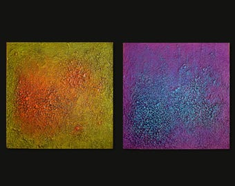Set of 2 Paintings on Wood- Abstract Paintings - Modern Wall Art - Heavy Texture - Green & Purple Paintings - Modern Paintings