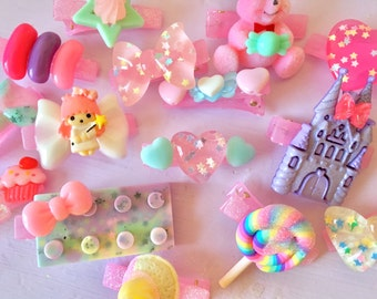 Set Of 5 Mystery Kawaii Fairy Kei Pastel Hair Clips For Decora Cosplay