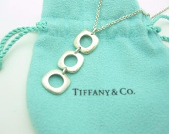 Tiffany & Co. Sterling Silver Triple Cushion Pendant Drop Dangle Necklace 16""