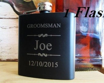 Set of 1 Personalized Black Flask // FREE ENGRAVING // Up to 3 Lines of Text