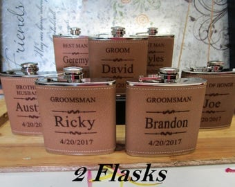 Cheap Wedding Gifts, Rustic Wedding Favor, Custom Engraved, Personalized Fkask, Leather Flask, Wedding Favor, Unique Wedding Flask for Men