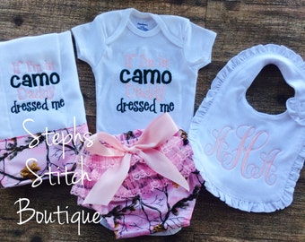 If I'm in Camo Daddy Dressed Me layette set