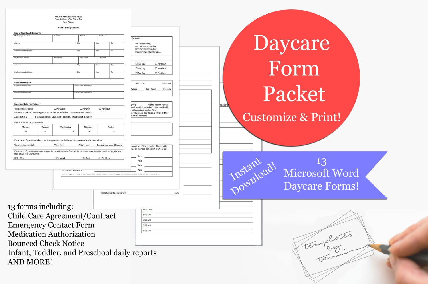daycare form pack daycare records daycare forms editable