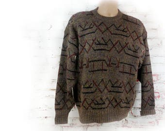 slouchy comfy  sweater - fall sweater,  Mod Sweater, men's brown sweater - long sleeve sweater - grandpa sweater - size Large - # 127 A