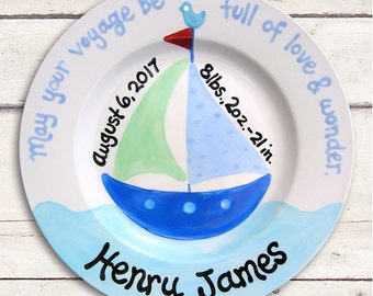 Nautical baby etsy nautical baby boy nautical nursery personalized baby plate baby boy gift nautical negle Gallery