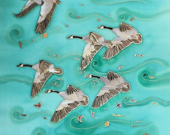 Hand Painted Silk Wall Hanging 24x24 - FALL MIGRATION, Canada Geese