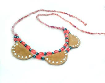 Leather Necklace, Scallop Necklace, Boho Bib Necklace, Silk Necklace, Glass Bead Necklace, Statement Jewelry, Boho Jewelry, Hippie Necklace