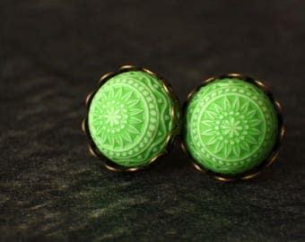 12 mm Stud Earrings, flower, vintage, mosaic, Cabochon, bright green