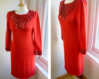 Vintage 80s Sequin Party Dress, Long Sleeve Dress, Red Valentine's Day Dress, Key Hole Back, Hand Knit Sweater, Sequin Cocktail Dress