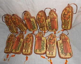 12 Old World Santa Claus Christmas Tree Ornament Lot