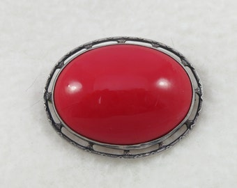 Large Silver Sterling Lipstick Red Glass Brooch Pin