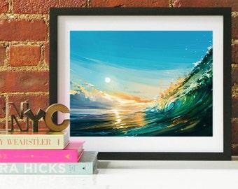 Ocean Wave art, Ocean Waves Art, Ocean Art, Ocean Wall Art, Ocean Waves, Hawaii Art, Beach Decor, Beach Art Print, Surfing Art