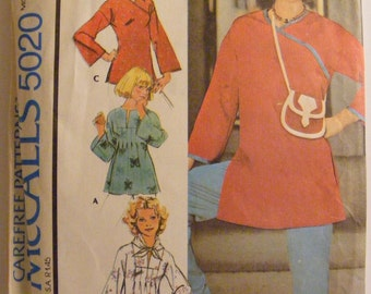 1970's Vintage Misses' Tunics / Tops Size Small 10 - 12 McCall's Sewing Pattern 5020