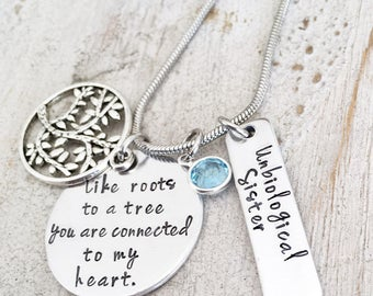 Unbiological Sister Necklace - Best Friend Gift for Women - Tree of Life Charm Necklace - Moving Away Gift for Best Friend - Gilfriend Gift