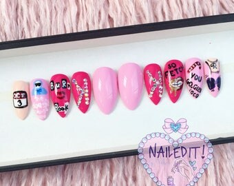 NAILED IT! Hand Painted False Nails - Mean Girls