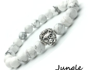 Stretch bracelet with white Howlite 8mm and Lion silver plated - Jungle bracelet marble