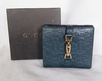 Gucci Woman's Bifold Leather Wallet - Dark Blue-Grey - Goldtone Closure - Never Used - With Box