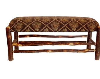 Rustic Hickory Dining Table Bench Upholstered Green Pine Cone Fabric