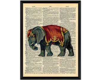 Picture/ print/ circus elephant on a dictionary page wall art, illustration, poster,wall decor, A4, A3