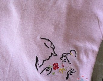 Beauty and the Beast Sketch Design on a tee in the pocket area. Inspired by Beauty and the Beast and Disney