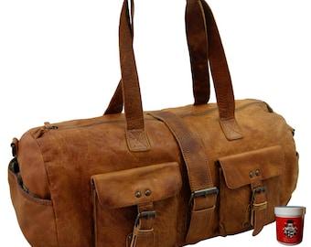 Weekender bag Traveling bag Gym bag PICCARD brown Rugged-Hide leather - BARON of MALTZAHN