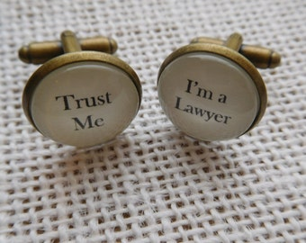 """Handcrafted """"Trust Me - I'm a Lawyer"""" Cuff links and Tie Clip - Excellent Lawyer Gift for a Lawyer Cufflinks, Tie Bar - Free UK Shipping"""