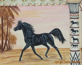 "4 Arabian Horse Greeting Cards with envelopes ""Out of the Past"" 5 1/2"" x 4 1/4"" Heather Anderson horse artist"