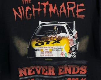 90s NASCAR t shirt - vintage - john force - nightmare never ends - xxl