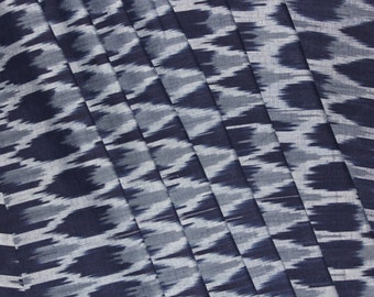 Navy Blue and Gray Ikat Fabric by The Yard Hand woven Indian Fabric womens clothing dress casual costumes Upholstery fabric ikat pillow robe