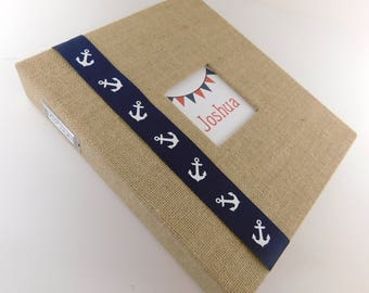Modern Baby Book Boy Baby Memory Book Burlap Baby Book Scrapbook Personalized Keepsake Rustic baby Shower gift Custom Album