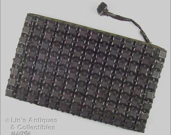Vintage PlasticFlex Plastic Squares Clutch Style Handbag  (Inventory #HB196)