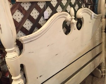 Full size solid wood, distressed white headboard and footboard.