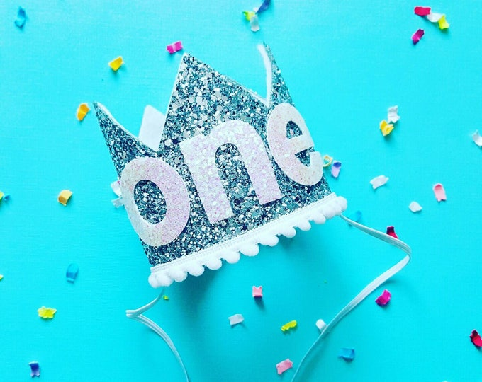 Birthday Crown || White and Silver Birthday || Silver and White || Crown || Birthday Girl || First Birthday || Baby Crown || Birthday