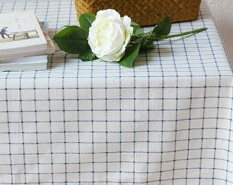 Raw White Blue Plaid Linen Cotton Table Cloth, Wedding Table Overlays,  Birthday Party Linens