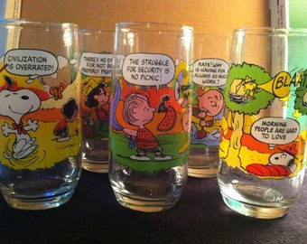 Vintage McDonald's Camp Snoopy Glasses Complete Set of 5 Made in USA