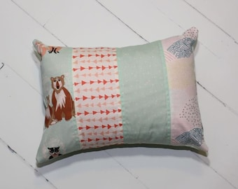 Quilted Nursery Pillow in Powder // FREE SHIPPING