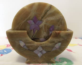 Marble Coaster Set of 6 Inlaid Mother of Pearl Flowers Vintage