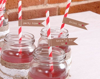 Candy striped Retro paper straws. Paper drinking straws with message flags.